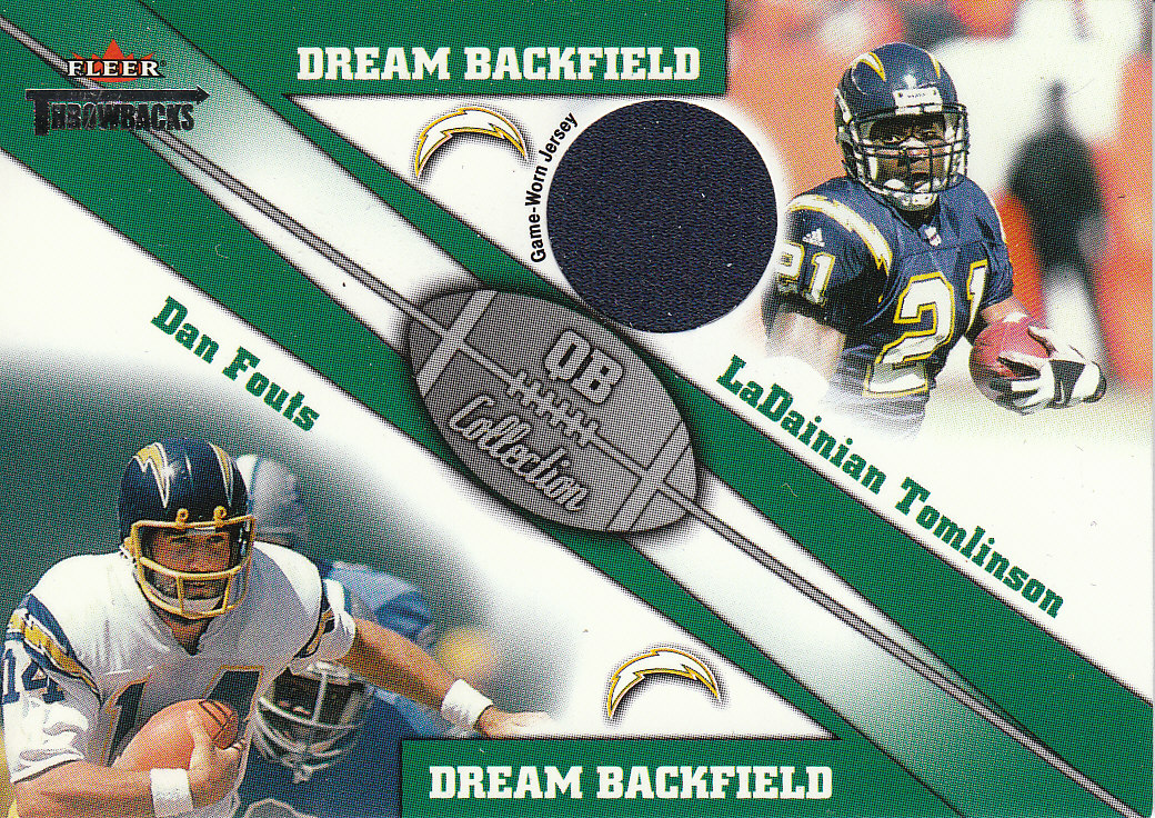 2002 Fleer Throwbacks QB Collection Dream Backfield Memorabilia #4 LaDainian Tomlinson JSY/Dan Fouts
