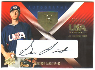 2008 USA Baseball Junior National Team Signatures Black #UE8 Garrison Lassiter
