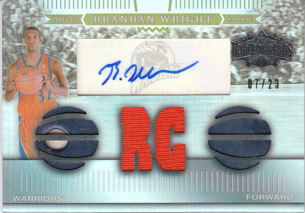 2007-08 Topps Triple Threads Rookie Relics Autographs Sepia #139 Brandan Wright front image
