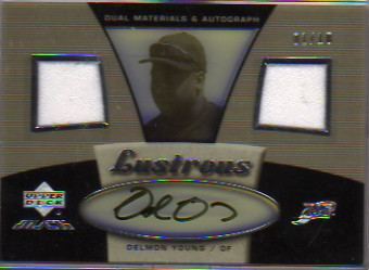 2007 UD Black Lustrous Materials Autographs Natural Pearl #DY Delmon Young