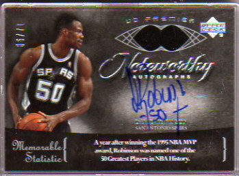 2007-08 Upper Deck Premier Noteworthy #NWDR David Robinson/71