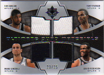 2007-08 Ultimate Collection Materials Quad #DPGR Tim Duncan/Tony Parker/Manu Ginobili/David Robinson