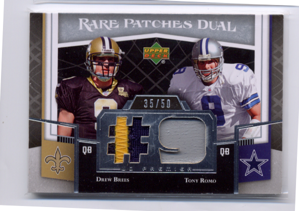 2007 Upper Deck Premier Rare Patches Dual #BR Drew Brees/Tony Romo