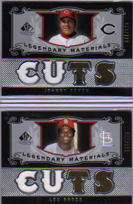 2007 SP Legendary Cuts Legendary Materials Dual #JB2 Johnny Bench/125