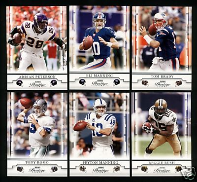 2008 Playoff Prestige Football Complete Base Set (1-100) (Incls stars such as Adrian Peterson, Tomlinson, Romo, Favre, Manning, Brady, Bush, Roethlisberger & more)
