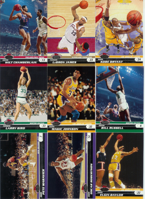 2007-08 (2008) Stadium Club Basketball Complete Base Set (1-100) (Incls such greats as Lebron James, Chamberlain, Bird, Maravich, Russell, Magic, Kobe & many more)