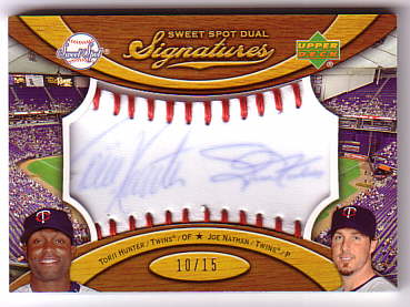 2007 Sweet Spot Dual Signatures Red Stitch Blue Ink #HN Torii Hunter/Joe Nathan/15