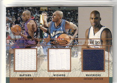 2003-04 Fleer Mystique Rare Finds Jerseys Triple #VJA Vince Carter/Jerry Stackhouse/Antawn Jamison