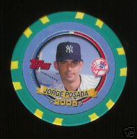2005 Topps Pack Wars Collector Chips Green #JP Jorge Posada