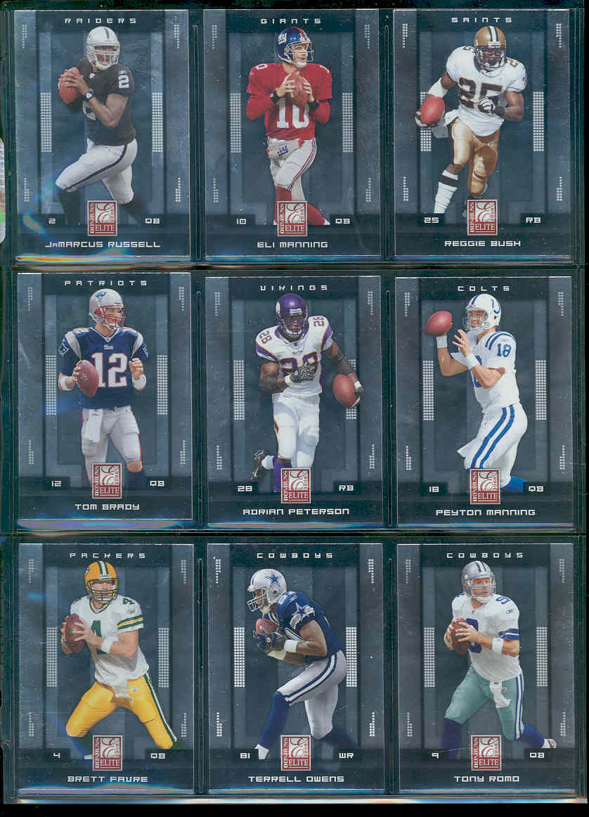 2008 Donruss Elite Complete Base Set 1-100 w/ Eli Manning , Reggie Bush , Tom Brady , Adrian Peterson , Peyton Manning ,  Tony Romo , Brett Favre Low Shipping