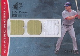 2008 SPx Winning Materials Team Initials 99 #JD J.D. Drew