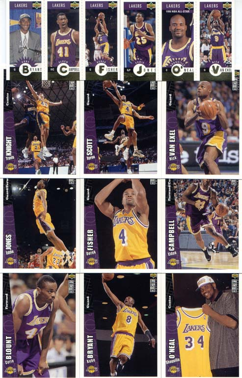Los Angeles Lakers 1996-97 Upper Deck Collector's Choice L.A. Edition Team Set w/ Kobe Bryant RC