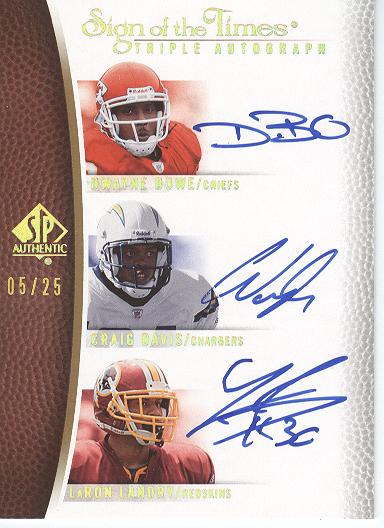 2007 SP Authentic Sign of the Times Triples #LDB Dwayne Bowe/Craig Buster Davis/LaRon Landry