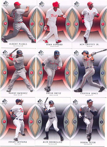 2007 Sp Authentic Complete Base Set 1-100 w/ Ken Griffey Jr Derek Jeter Alex Rodriguez Ryan Howard Albert Pujols Manny Ramirez Chipper Jones
