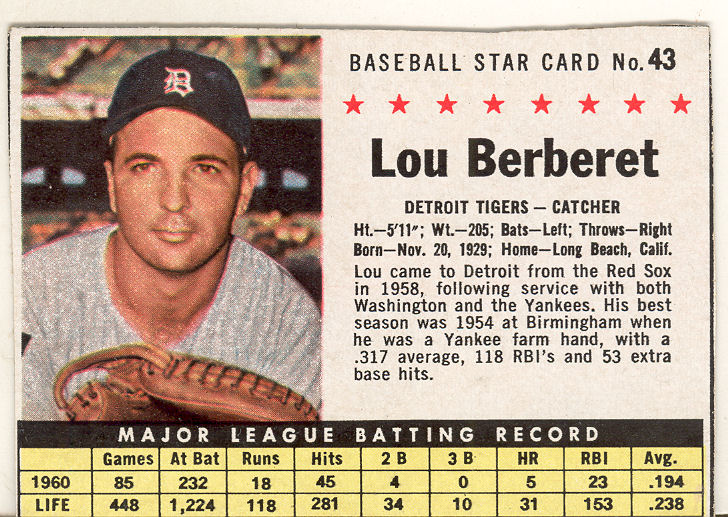 1961 Post #43B Lou Berberet BOX