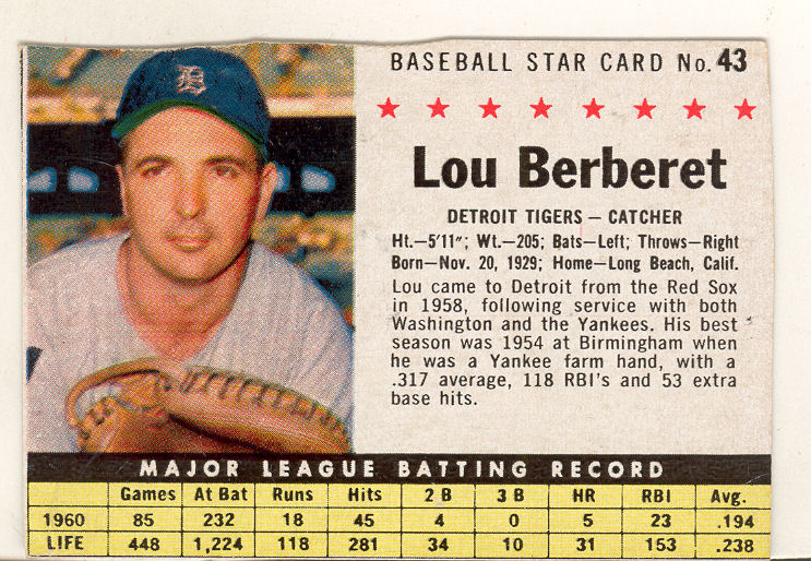 1961 Post #43B Lou Berberet BOX front image