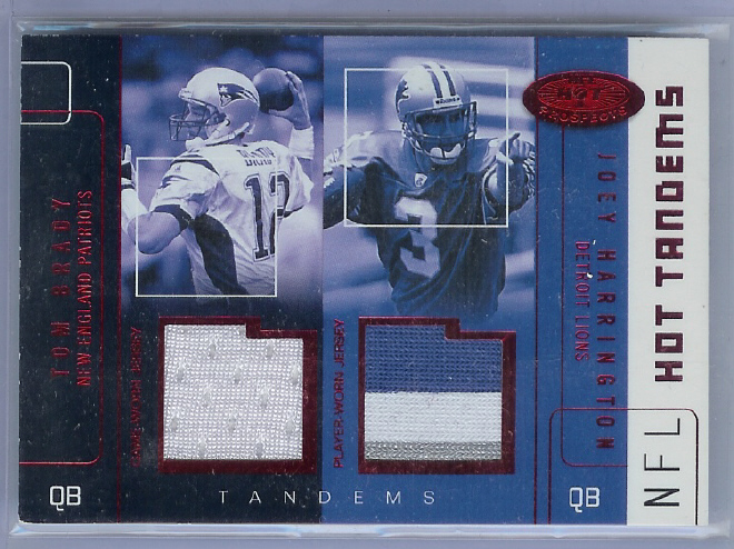 2002 Hot Prospects Red Hot Tandems #TBJH Tom Brady/Joey Harrington
