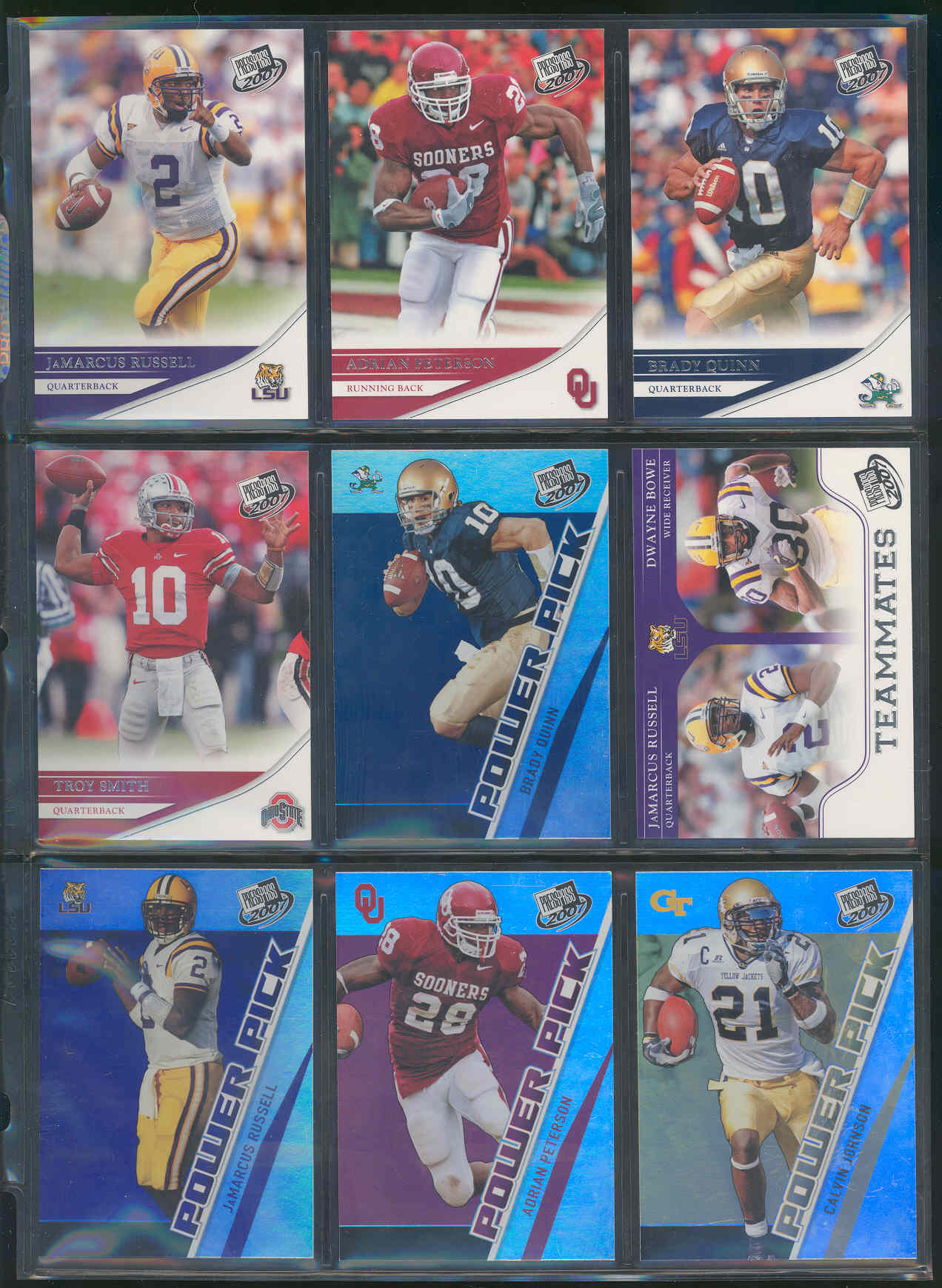 2007 Press Pass Complete Set 1-100 with 101-105 Power Pick SP Rookie Adrian Peterson Brady Quinn JaMarcus Russell Calvin Johnson Ted ginn Jr Low Shipping Cost!! Beckett Value over $100