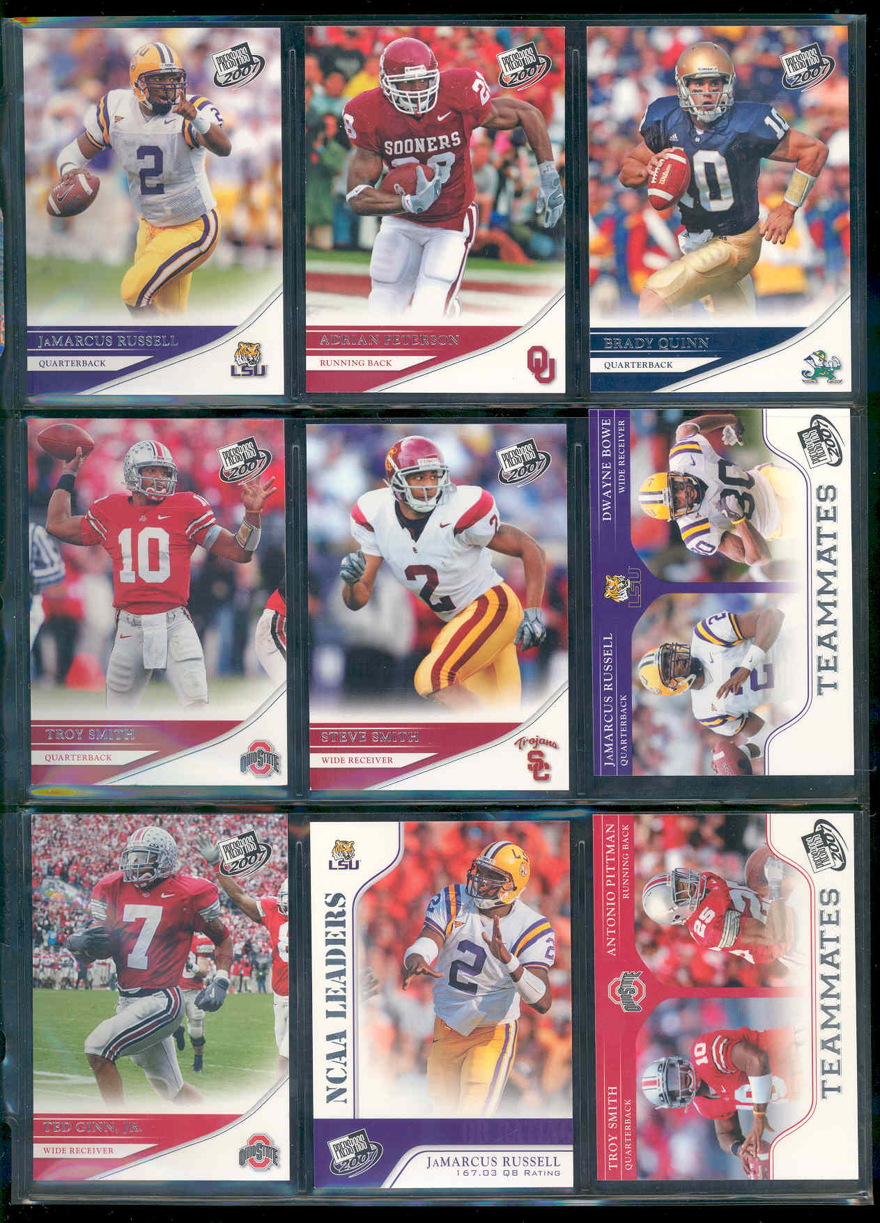 2007 Press Pass Complete Base Set 1-100 w/ Adrain Peterson Brady Quinn JaMarcus Russell Calvin Johnson Ted ginn Jr  Rookie Cards