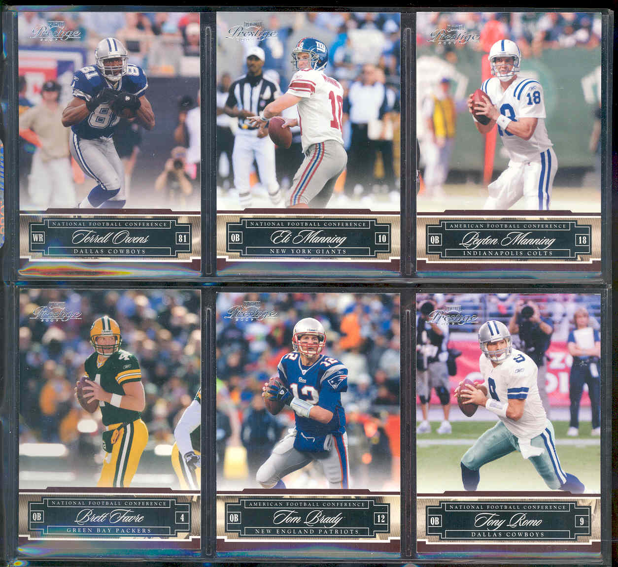 2007 Playoff Prestige Complete Set 1-150 Loaded w stars like Brett Favre Tom Brady Tony Romo Terrell Owens Eli Manning Peyton Manning Low Shipping Cost
