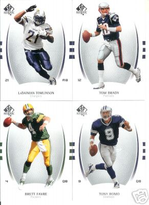 2007 Sp Authentic Football Complete Set 1-100 Loaded w/ Stars like Brett Favre Tony Romo Tom Brady Tomlinson Reggie Bush and other Low Shipping Cost