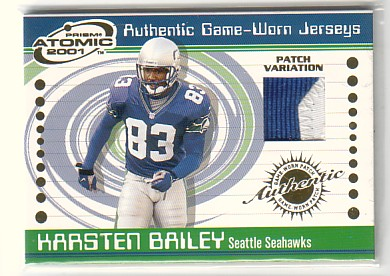 2001 Pacific Prism Atomic Jersey Patches #88 Karsten Bailey