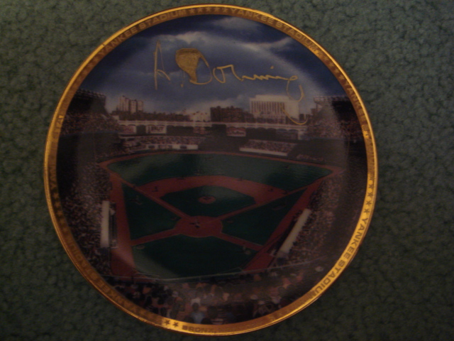 Al Dowing Yankee Stadium Autographed 1989 Sports Impressions Mini Plate By Robert Stephen Simon With COA