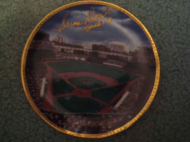Brian Doyle Yankee Stadium Autographed 1989 Sports Impressions Mini Plate By Robert Stephen Simon With COA