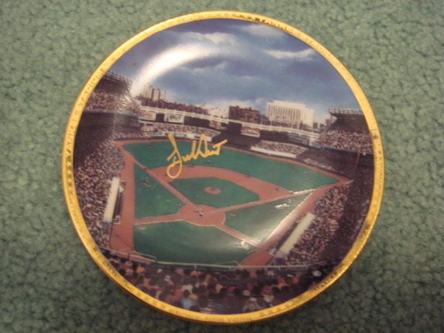 Bucky Dent Yankee Stadium Autographed 1989 Sports Impressions Mini Plate By Robert Stephen Simon With COA