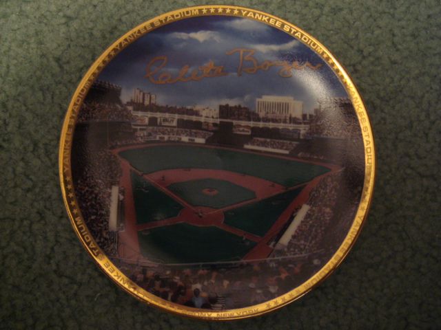 Clete Boyer Yankee Stadium Autographed 1989 Sports Impressions Mini Plate By Robert Stephen Simon With COA