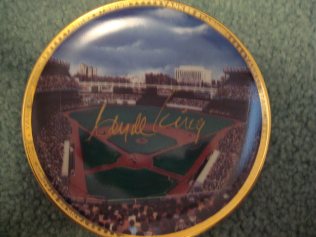Clyde King Yankee Stadium Autographed 1989 Sports Impressions Mini Plate By Robert Stephen Simon With COA