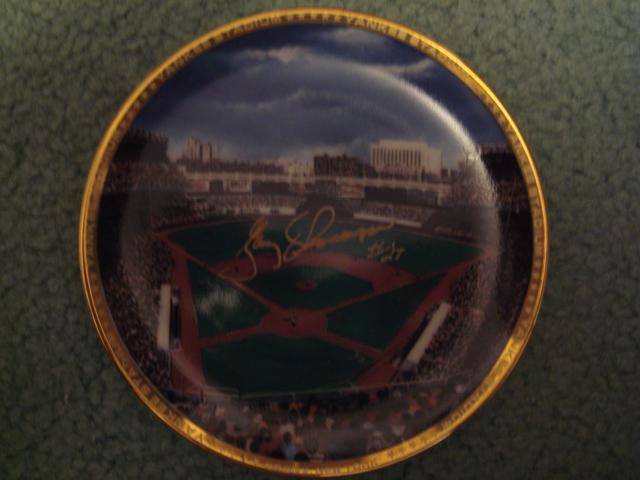 Gary Thomason Yankee Stadium Autographed 1989 Sports Impressions Mini Plate By Robert Stephen Simon With COA