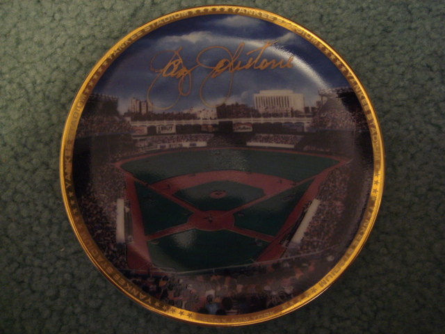 Jay Johnstone Yankee Stadium Autographed 1989 Sports Impressions Mini Plate By Robert Stephen Simon With COA