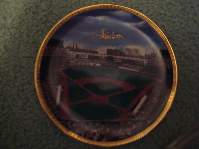 Jim Abbott Yankee Stadium Autographed 1989 Sports Impressions Mini Plate By Robert Stephen Simon With COA