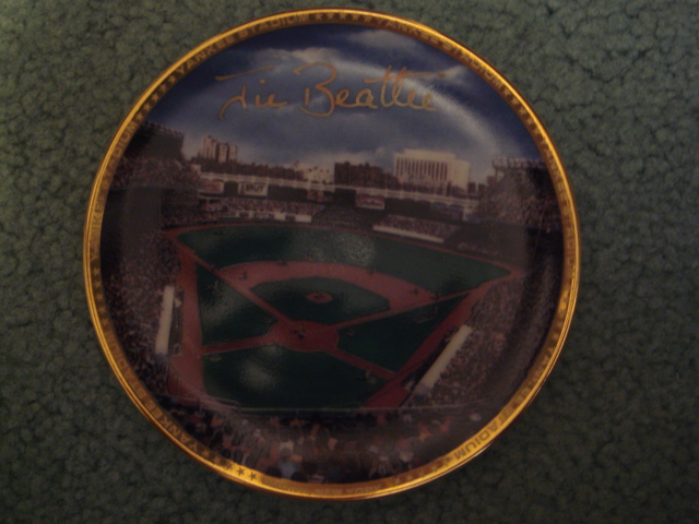 Jim Beattie Yankee Stadium Autographed 1989 Sports Impressions Mini Plate By Robert Stephen Simon With COA