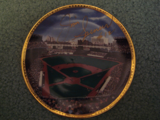 Jim Spencer Yankee Stadium Autographed 1989 Sports Impressions Mini Plate By Robert Stephen Simon With COA