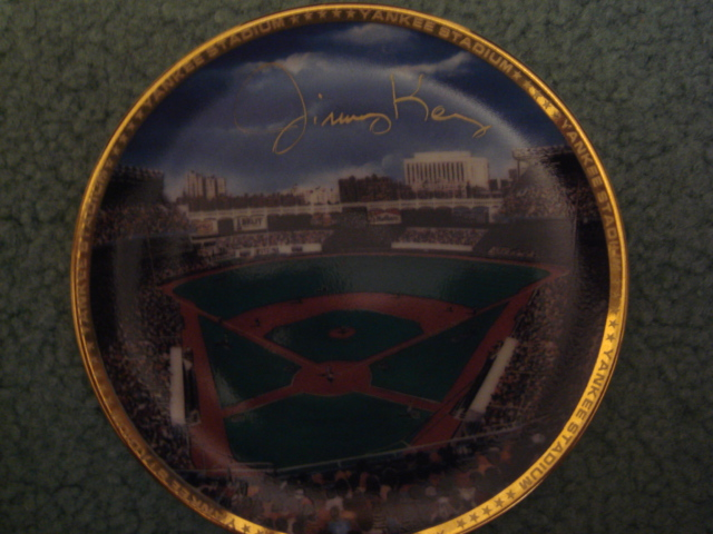 Jimmy Key Yankee Stadium Autographed 1989 Sports Impressions Mini Plate By Robert Stephen Simon With COA