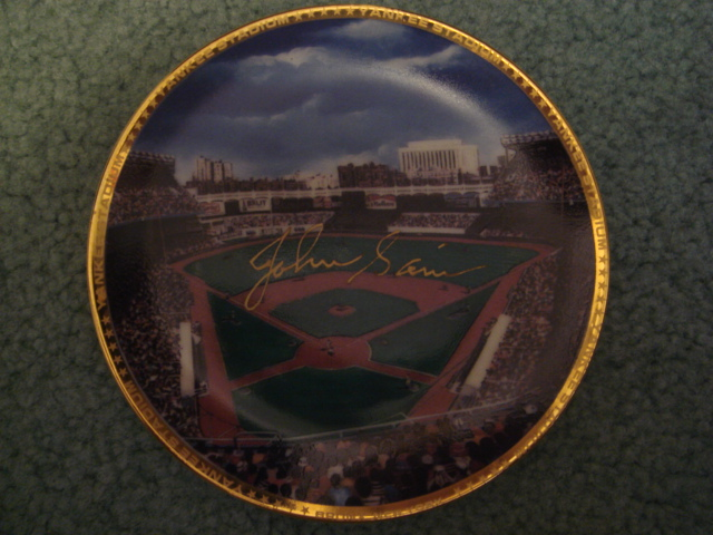 Johnny Sain Yankee Stadium Autographed 1989 Sports Impressions Mini Plate By Robert Stephen Simon With COA