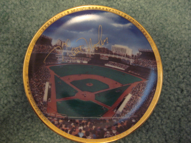 Matt Nokes Yankee Stadium Autographed 1989 Sports Impressions Mini Plate By Robert Stephen Simon With COA