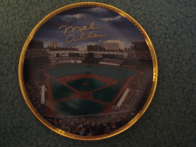 Mel Allen Yankee Stadium Autographed 1989 Sports Impressions Mini Plate By Robert Stephen Simon With COA