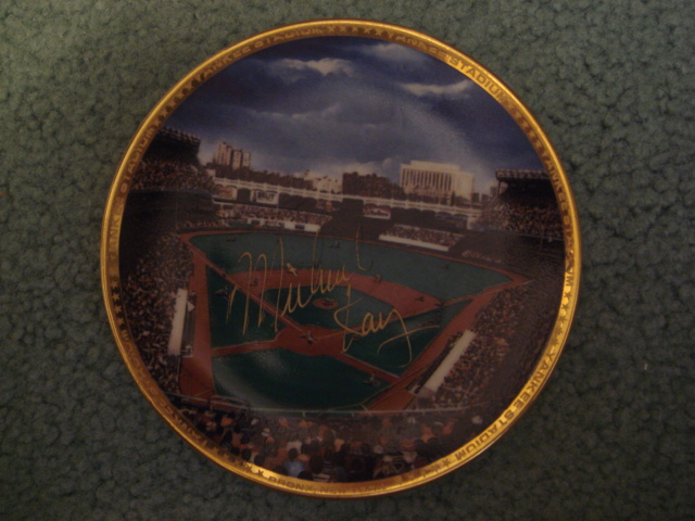 Michael Kay Yankee Stadium Autographed 1989 Sports Impressions Mini Plate By Robert Stephen Simon With COA