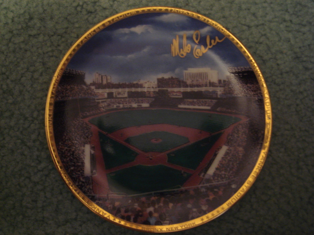 Mike Easler Yankee Stadium Autographed 1989 Sports Impressions Mini Plate By Robert Stephen Simon With COA