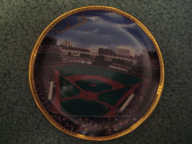 Mike Heath Yankee Stadium Autographed 1989 Sports Impressions Mini Plate By Robert Stephen Simon With COA