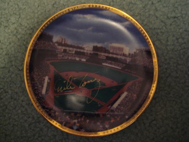 Mike Torrez Yankee Stadium Autographed 1989 Sports Impressions Mini Plate By Robert Stephen Simon With COA