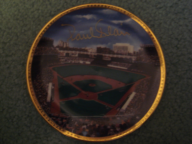 Paul Blair Yankee Stadium Autographed 1989 Sports Impressions Mini Plate By Robert Stephen Simon With COA