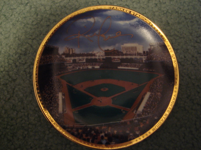 Rick Cerrone Yankee Stadium Autographed 1989 Sports Impressions Mini Plate By Robert Stephen Simon With COA