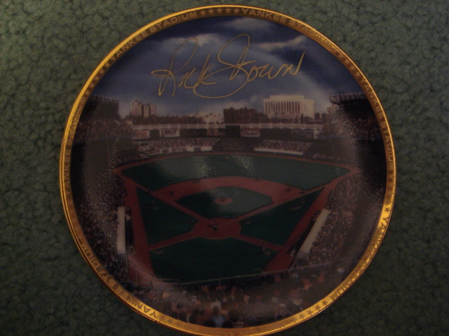 Rick Down Yankee Stadium Autographed 1989 Sports Impressions Mini Plate By Robert Stephen Simon With COA