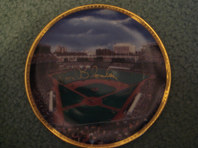 Ron Blomberg Yankee Stadium Autographed 1989 Sports Impressions Mini Plate By Robert Stephen Simon With COA
