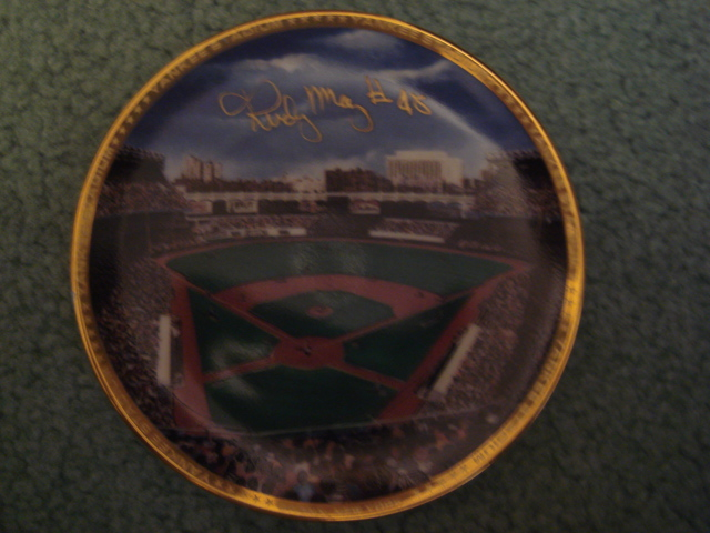 Rudy May Yankee Stadium Autographed 1989 Sports Impressions Mini Plate By Robert Stephen Simon With COA