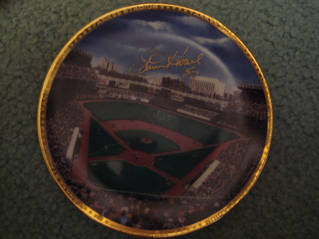 Steve Howe Yankee Stadium Autographed 1989 Sports Impressions Mini Plate By Robert Stephen Simon With COA
